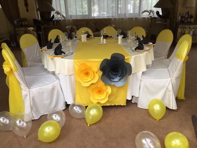 Оформление свадьбы в серо-желтом цвете (ресторан Le Dome)