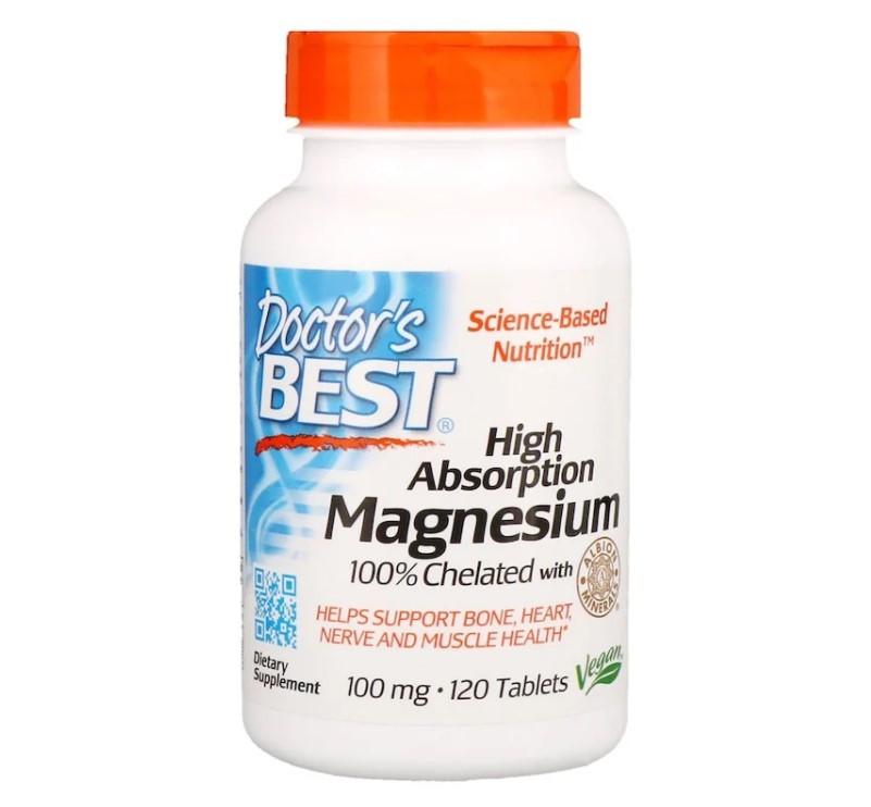 Doctor's Best, Магний с высокой степенью всасывания, 120 таблеток