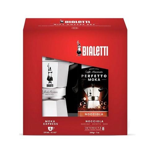 Подарочный набор Bialetti Moka Express 6 порций и кофе молотый Hazelnut 200 гр