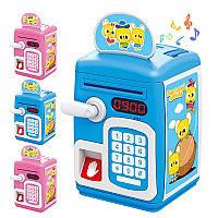 Детский сейф-копилка с отпечатком пальца, кодом и купюроприемником