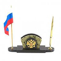 Визитница с гербом и флагом России змеевик