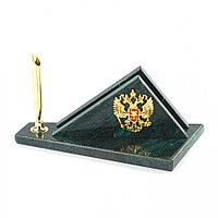 Визитница настольная с гербом России из змеевика