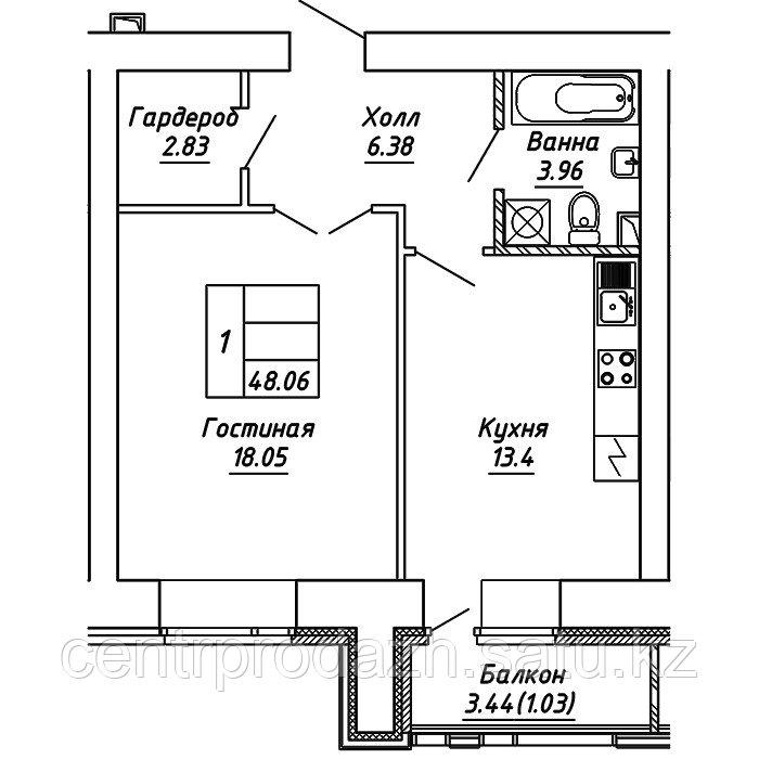 1 комнатная квартира в ЖК Brussel 2 48.06 м²