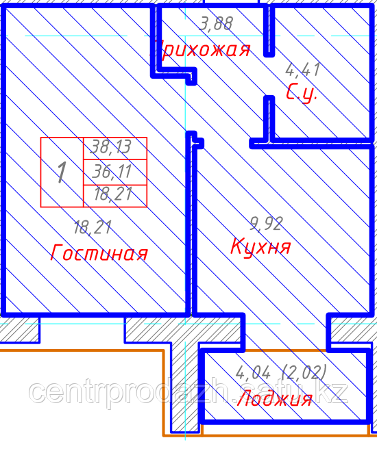 1 комнатная квартира в ЖК Будапешт 38.13 м²