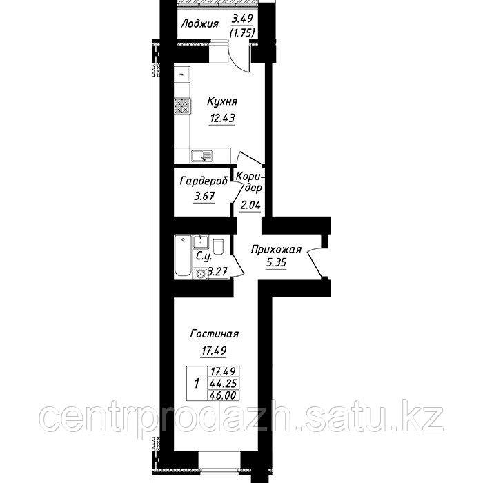 1 комнатная квартира в ЖК Будапешт 46 м²