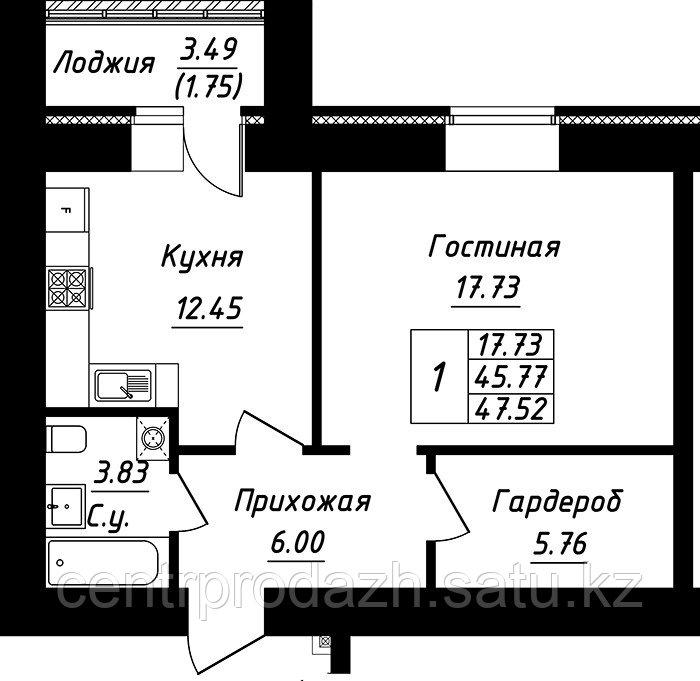 1 комнатная квартира в ЖК Будапешт 47.52 м²
