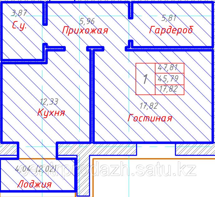 1 комнатная квартира в ЖК Будапешт 47.81 м²