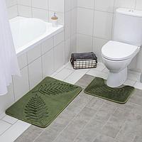 Набор ковриков для ванны и туалета Доляна «Тропики», 2 шт: 40×50, 50×80 см, цвет хаки