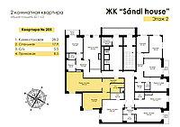 2 комнатная квартира в ЖК Sandi House 61 м², фото 1
