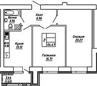 2 комнатная квартира в ЖК Brussel 2 64.47 м², фото 1