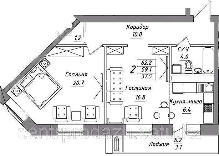 2 комнатная квартира в ЖК Brussel 3 62.2 м²