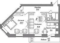 2 комнатная квартира в ЖК Brussel 3 62.2 м², фото 1