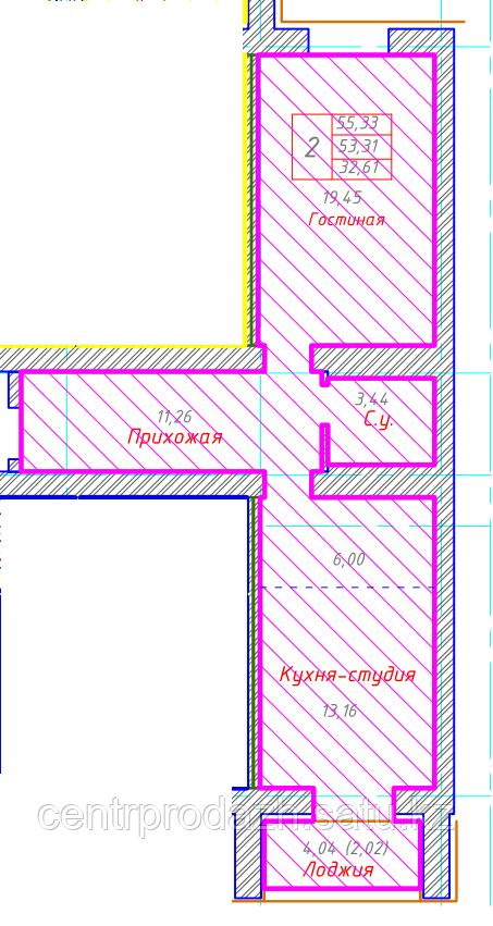 2 комнатная квартира в ЖК Будапешт 55.33 м²
