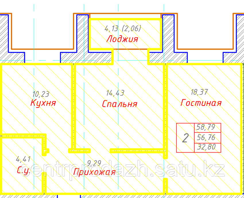 2 комнатная квартира в ЖК Будапешт 58.79 м²