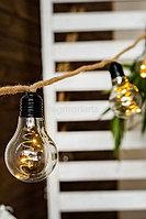 Гирлянда 2,7м теплобелая лампочки на пеньковой веревке 10 ламп