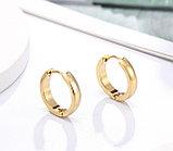 Серьги двусторонние '' Золотые кольца'' позолота, фото 7
