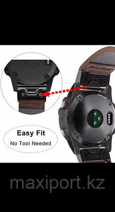Ремешок кожаный черный 26мм для Garmin Fenix5X, Fenix5X plus, Fenix6X, Fenix6 pro, фото 2