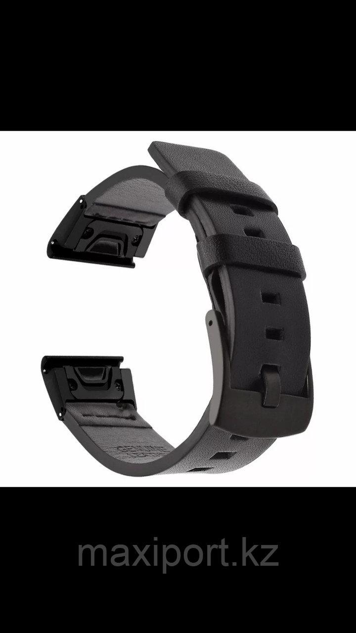 Ремешок кожаный черный 26мм для Garmin Fenix5X, Fenix5X plus, Fenix6X, Fenix6 pro