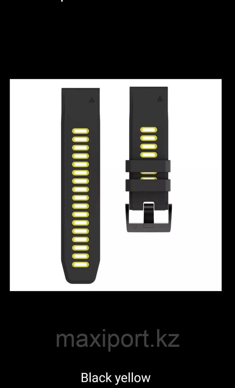 Ремешок силиконовый черно-желтый 26мм для Garmin Fenix5X, Fenix5X plus, Fenix6X, Fenix6X pro