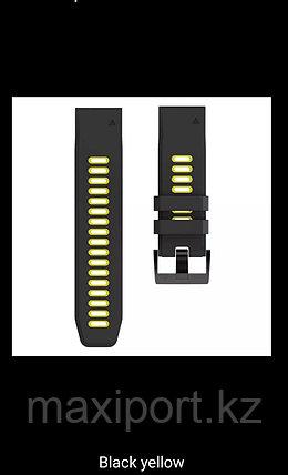 Ремешок силиконовый черно-желтый 26мм для Garmin Fenix5X, Fenix5X plus, Fenix6X, Fenix6X pro, фото 2