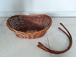 Плетенная подарочная корзина для фруктов, шампанского, конфет. Съемная ручка. Размер 43 см.