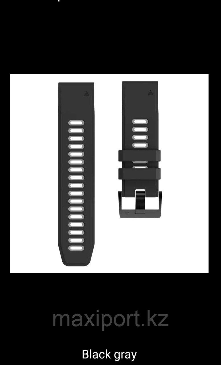Ремешок силиконовый черно-серый 26мм для Garmin Fenix5X, Fenix5X plus, Fenix6X, Fenix6X pro