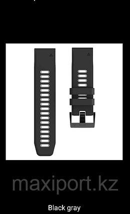 Ремешок силиконовый черно-серый 26мм для Garmin Fenix5X, Fenix5X plus, Fenix6X, Fenix6X pro, фото 2