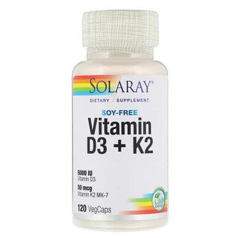 Solaray, витамины D3 и K2, без сои, 125 мкг (5000 МЕ), 120 растительных капсул