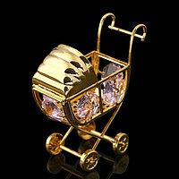 Сувенир «Детская коляска», 6х3х6 см, с кристаллами Сваровски