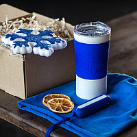 Набор ACTIONLIFE: термокружка, шапка, украшение, зарядное устройство, коробка, синий, Синий, -, 35029 24