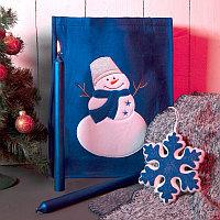 Набор подарочный NEWSPIRIT: сумка, свечи, плед, украшение, синий, Синий, -, 35034 24