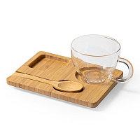 Набор MORKEL:чашка, ложка, подставка, бамбук, боросиликатное стекло, прозрачный, , 346482