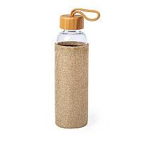 Бутылка для воды KASFOL, стекло, бамбук, 500 мл, бежевый, , 346581
