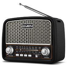 SVEN SRP-555 радиоприемник мощность 3 Вт (RMS), FM/AM/SW, USB, SD/microSD, черный-серебро