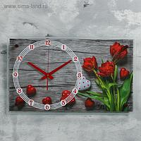 "Часы настенные, серия: Цветы, ""Красные тюльпаны"", 36х60 см, микс"
