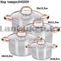 Набор кастрюль из нержавеющей стали 4 кастрюли диаметр 24 см 20 см 18 см 16 см 8 предметов в наборе HausRoland