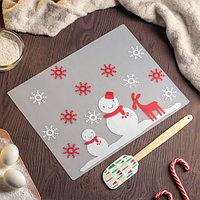 """Набор кондитерских принадлежностей """"Новый год"""", 2 предмета: коврик, лопатка"""