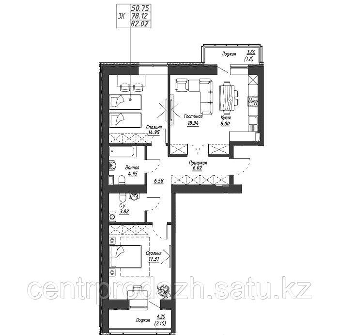 3 комнатная квартира в ЖК Варшава 82.19 м²