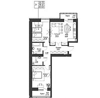 3 комнатная квартира в ЖК Варшава 82.19 м², фото 1