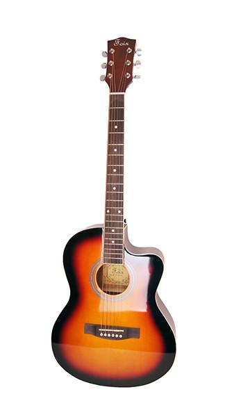 Акустическая гитара, санберст, с вырезом, Foix FFG-1039SB