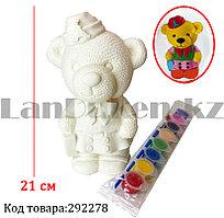 Набор для детского творчества копилка раскраска Мишка, кисточка и краски 8 цветов