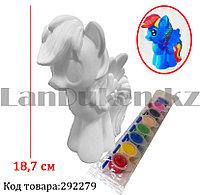 Набор для детского творчества копилка раскраска Пони лошадка, кисточка и краски 8 цветов