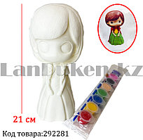 Набор для детского творчества копилка раскраска Девочка в плаще, кисточка и краски 8 цветов Е071