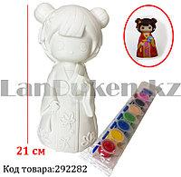 Набор для детского творчества копилка раскраска Девочка с книжками, кисточка и краски 8 цветов