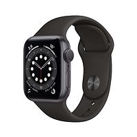 Apple watch series 6 44mm space gray aluminium case with sport band черный