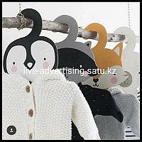 Деревянная вешалка в виде лисы енота медведя и пингвина вешалка для одежды милые детские вешалки для хранения