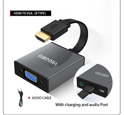 Конвертер HDMI на VGA VEGGIEG   Audio + Питание   Преходник, Адаптер для PC PS4 XBOX HDMI - VGA