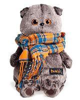Кот Басик и шарф в клеточку 19 см мягкая игрушка