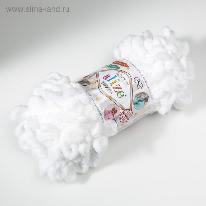 "Пряжа ""Puffy"" 100 % микрополиэстер 9м/100г (55 белый) - фото 2"
