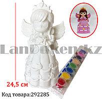Набор для детского творчества копилка раскраска Принцесса с крыльями, кисточка и краски 8 цветов